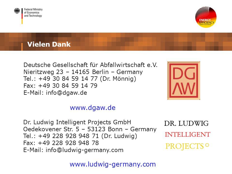 Vielen Dank Dr. Ludwig Intelligent Projects GmbH Oedekovener Str. 5 – 53123 Bonn – Germany Tel.: +49 228 928 948 71 (Dr. Ludwig) Fax: +49 228 928 948