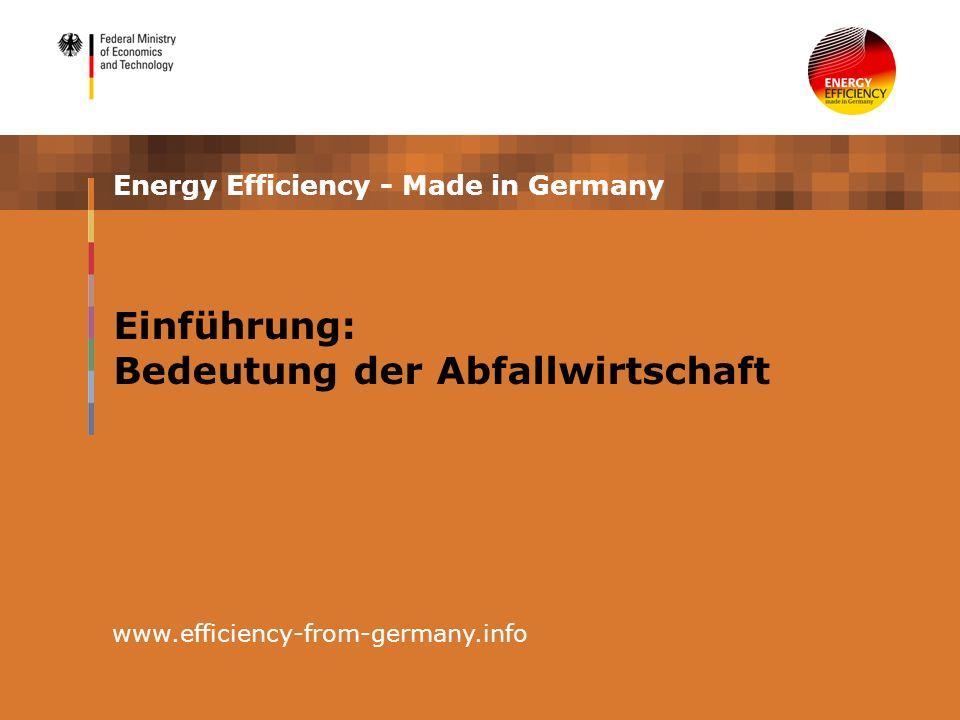 Energy Efficiency - Made in Germany www.efficiency-from-germany.info Einführung: Bedeutung der Abfallwirtschaft