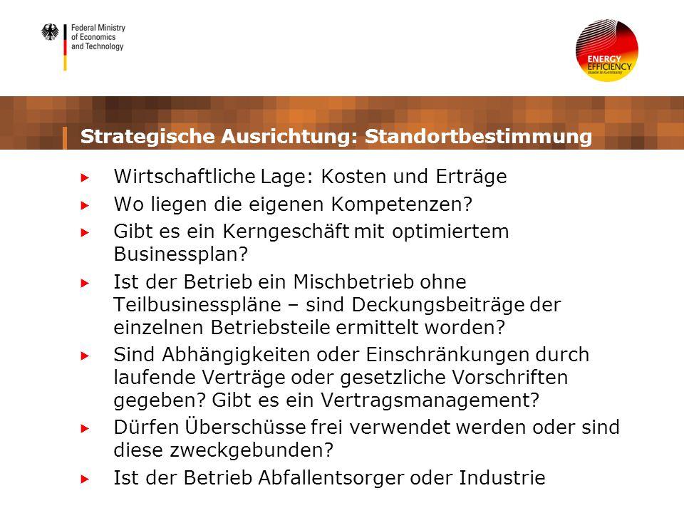 Strategische Ausrichtung: Standortbestimmung Wirtschaftliche Lage: Kosten und Erträge Wo liegen die eigenen Kompetenzen? Gibt es ein Kerngeschäft mit