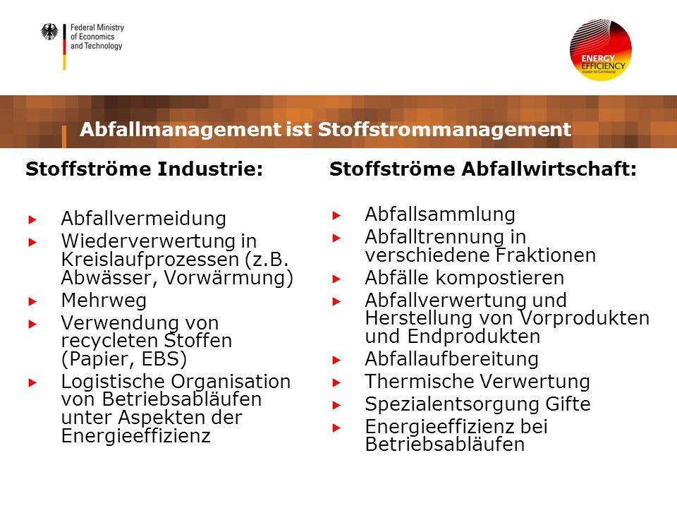 Abfallmanagement ist Stoffstrommanagement Stoffströme Industrie: Abfallvermeidung Wiederverwertung in Kreislaufprozessen (z.B. Abwässer, Vorwärmung) M
