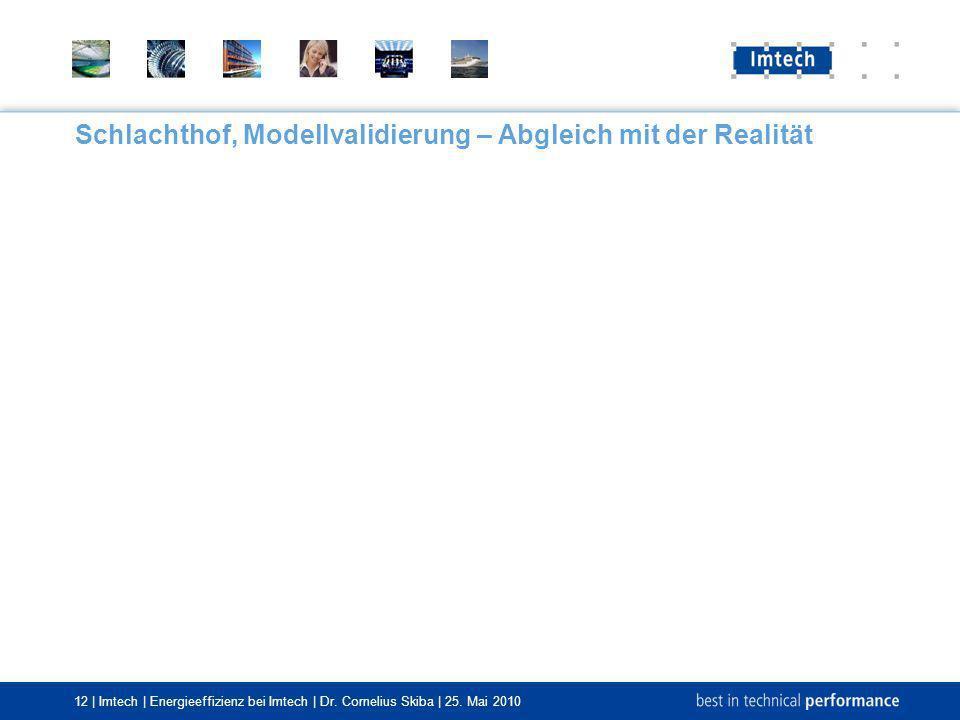 12 | Imtech | Energieeffizienz bei Imtech | Dr. Cornelius Skiba | 25. Mai 2010 Schlachthof, Modellvalidierung – Abgleich mit der Realität