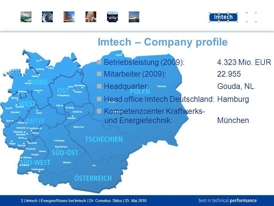 2 | Imtech | Energieeffizienz bei Imtech | Dr. Cornelius Skiba | 25. Mai 2010 Imtech – Company profile Betriebsleistung (2009):4.323 Mio. EUR Mitarbei