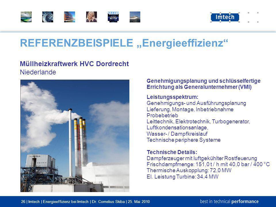 26 | Imtech | Energieeffizienz bei Imtech | Dr. Cornelius Skiba | 25. Mai 2010 REFERENZBEISPIELE Energieeffizienz Müllheizkraftwerk HVC Dordrecht Nied