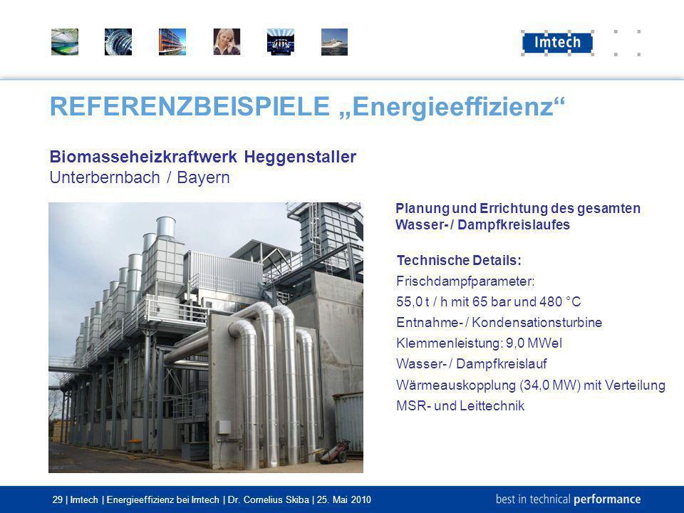 29 | Imtech | Energieeffizienz bei Imtech | Dr. Cornelius Skiba | 25. Mai 2010 REFERENZBEISPIELE Energieeffizienz Biomasseheizkraftwerk Heggenstaller