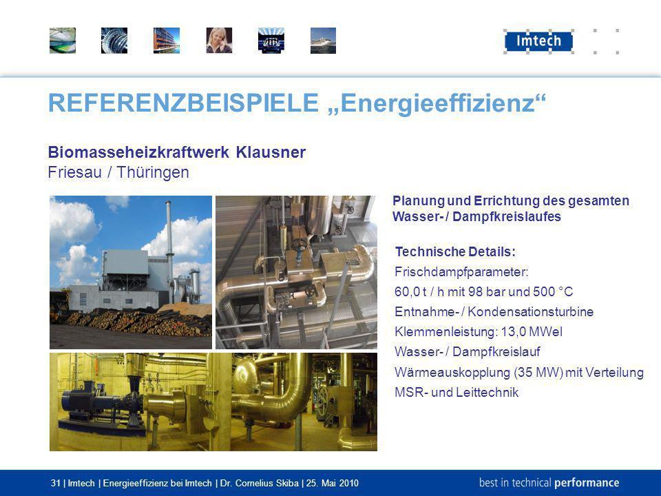31 | Imtech | Energieeffizienz bei Imtech | Dr. Cornelius Skiba | 25. Mai 2010 REFERENZBEISPIELE Energieeffizienz Biomasseheizkraftwerk Klausner Fries
