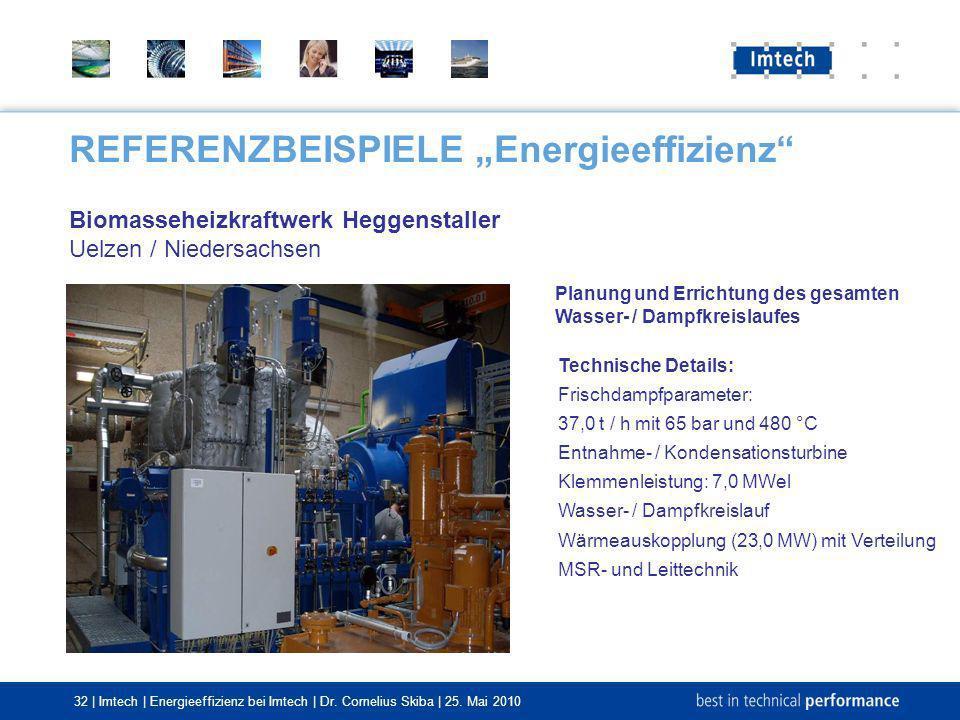 32 | Imtech | Energieeffizienz bei Imtech | Dr. Cornelius Skiba | 25. Mai 2010 REFERENZBEISPIELE Energieeffizienz Biomasseheizkraftwerk Heggenstaller