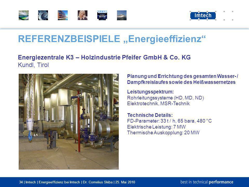 34 | Imtech | Energieeffizienz bei Imtech | Dr. Cornelius Skiba | 25. Mai 2010 REFERENZBEISPIELE Energieeffizienz Energiezentrale K3 – Holzindustrie P