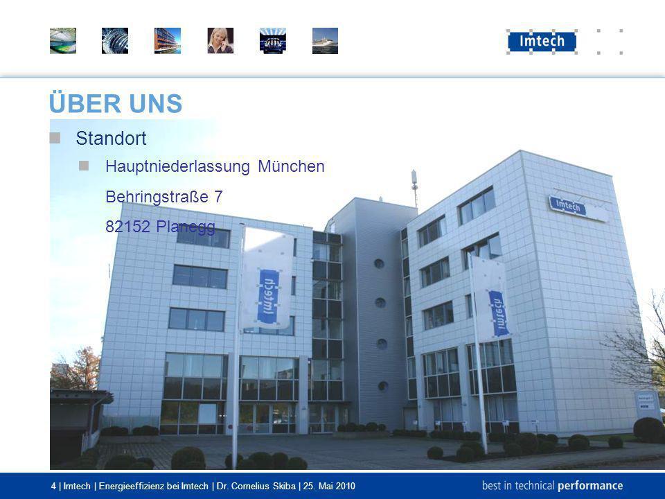4 | Imtech | Energieeffizienz bei Imtech | Dr. Cornelius Skiba | 25. Mai 2010 Standort Hauptniederlassung München Behringstraße 7 82152 Planegg ÜBER U