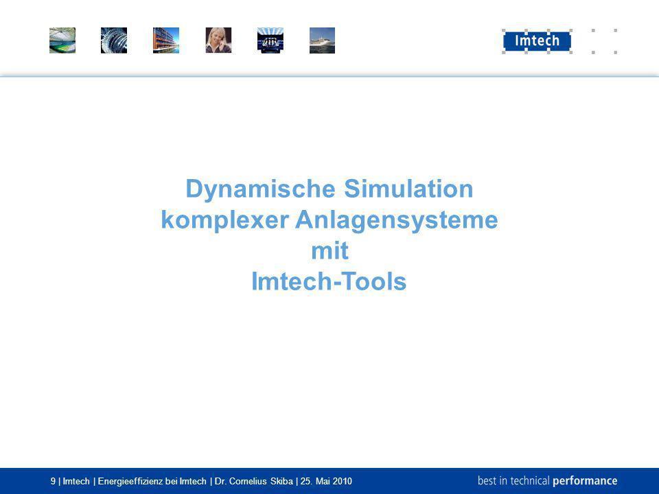 9 | Imtech | Energieeffizienz bei Imtech | Dr. Cornelius Skiba | 25. Mai 2010 Dynamische Simulation komplexer Anlagensysteme mit Imtech-Tools