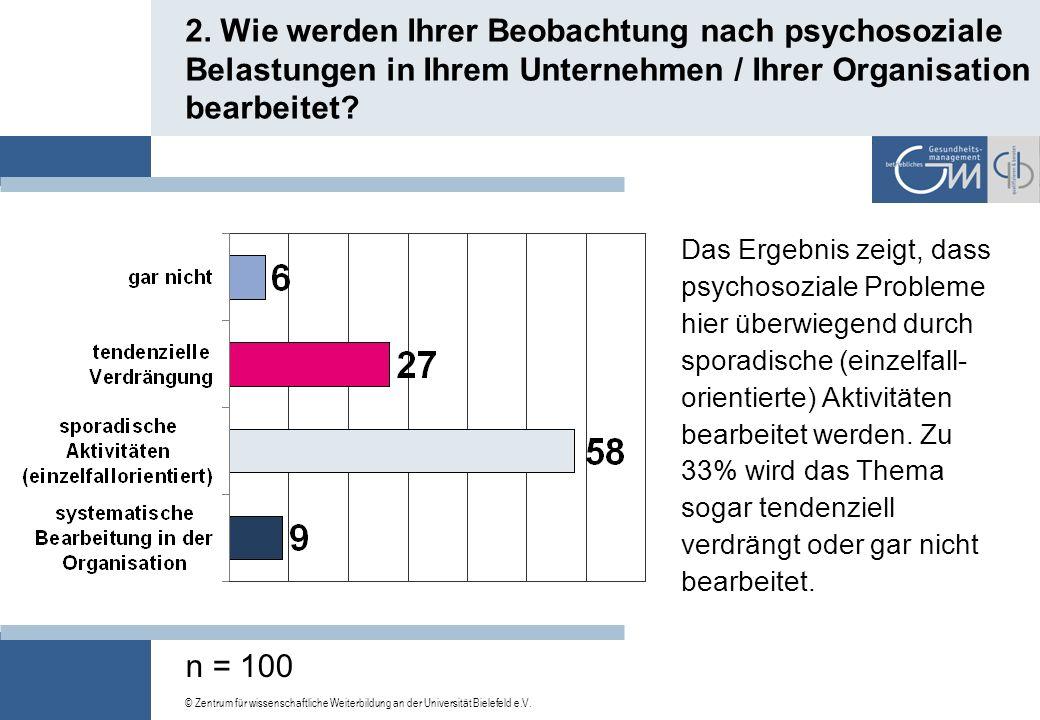 © Zentrum für wissenschaftliche Weiterbildung an der Universität Bielefeld e.V. 1. Haben Ihrer Einschätzung nach die psychosozialen Belastungen in Ihr