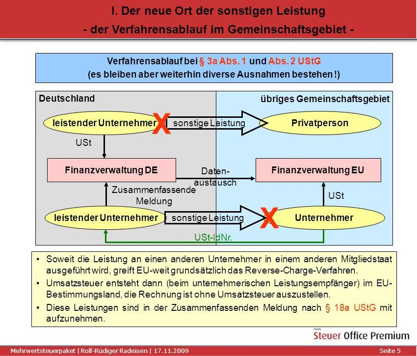 Titel der Präsentation | Autor | 01.01.2008Seite 6 Mehrwertsteuerpaket | Rolf-Rüdiger Radeisen | 17.11.2009 Seite 6 I.