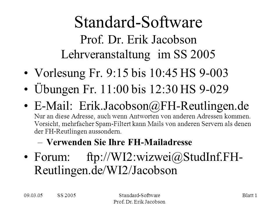09.03.05 SS 2005Standard-Software Prof. Dr. Erik Jacobson Blatt 1 Standard-Software Prof.