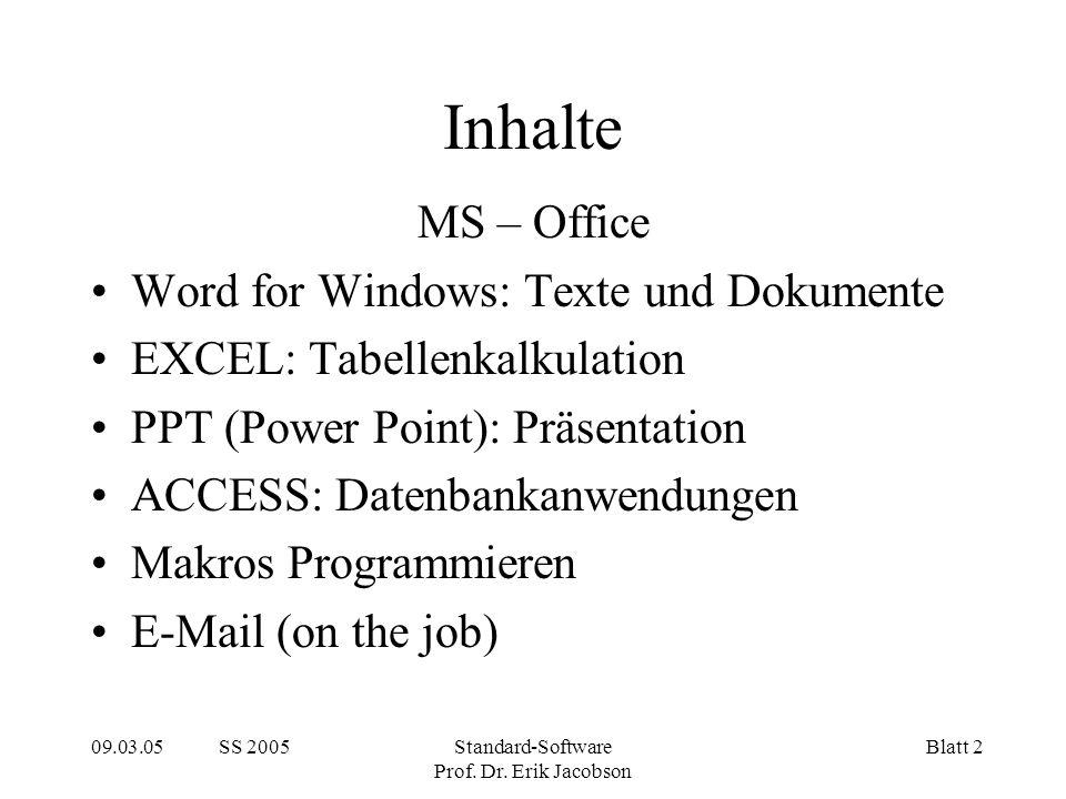 09.03.05 SS 2005Standard-Software Prof. Dr.