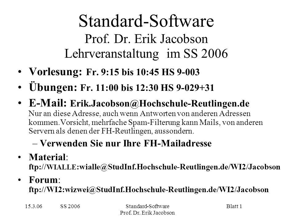 15.3.06 SS 2006Standard-Software Prof. Dr. Erik Jacobson Blatt 1 Standard-Software Prof. Dr. Erik Jacobson Lehrveranstaltung im SS 2006 Vorlesung: Fr.