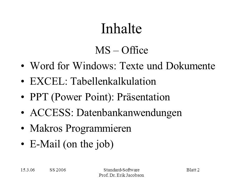 15.3.06 SS 2006Standard-Software Prof. Dr. Erik Jacobson Blatt 2 Inhalte MS – Office Word for Windows: Texte und Dokumente EXCEL: Tabellenkalkulation