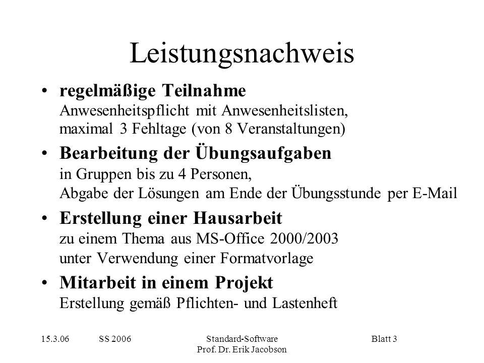 15.3.06 SS 2006Standard-Software Prof. Dr. Erik Jacobson Blatt 3 Leistungsnachweis regelmäßige Teilnahme Anwesenheitspflicht mit Anwesenheitslisten, m