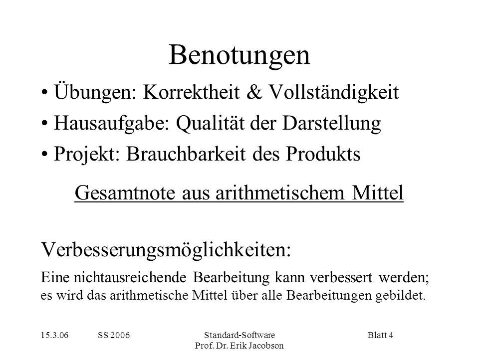 15.3.06 SS 2006Standard-Software Prof. Dr. Erik Jacobson Blatt 4 Benotungen Übungen: Korrektheit & Vollständigkeit Hausaufgabe: Qualität der Darstellu