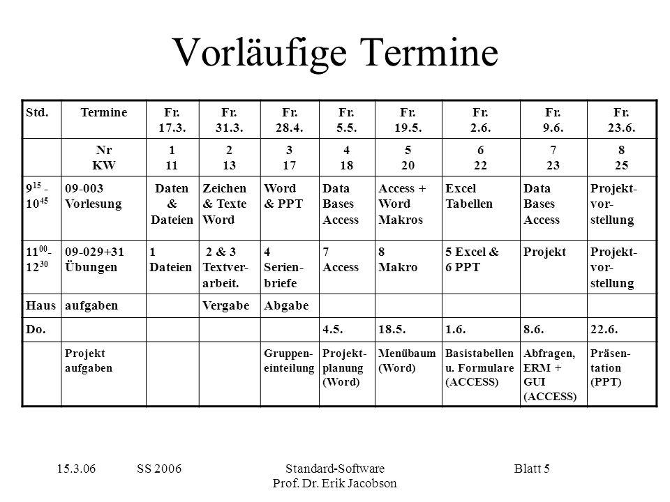 15.3.06 SS 2006Standard-Software Prof. Dr. Erik Jacobson Blatt 5 Vorläufige Termine Std.TermineFr. 17.3. Fr. 31.3. Fr. 28.4. Fr. 5.5. Fr. 19.5. Fr. 2.