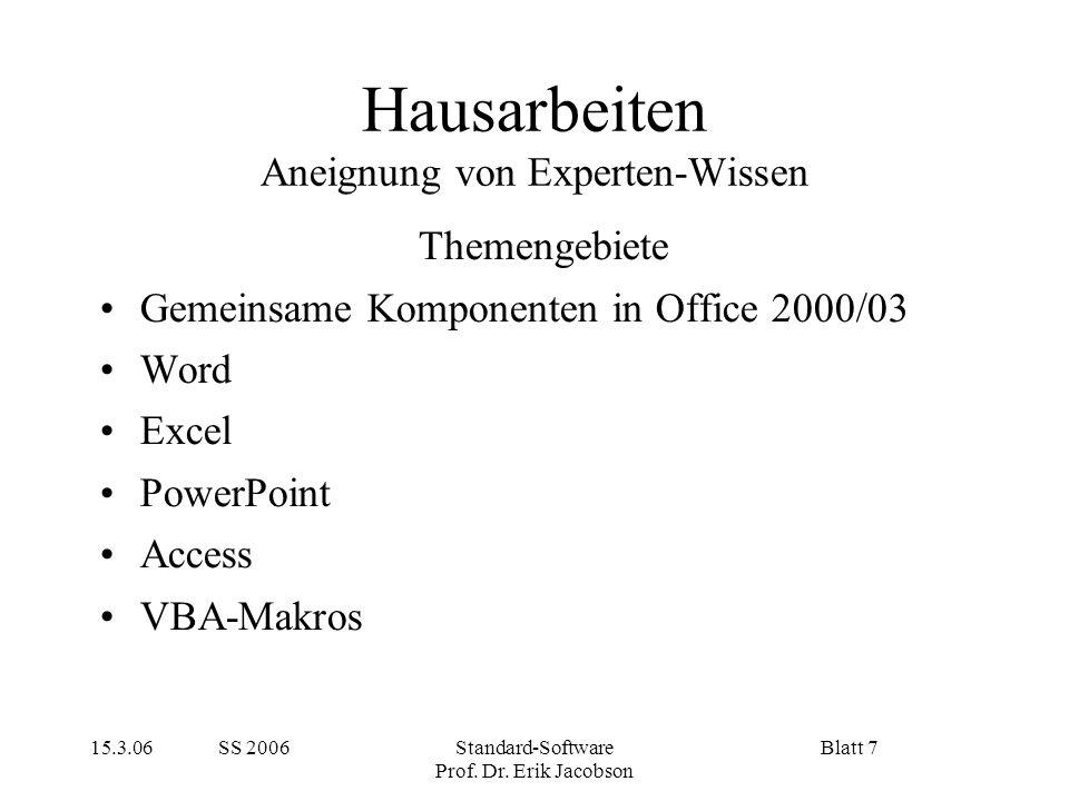 15.3.06 SS 2006Standard-Software Prof. Dr. Erik Jacobson Blatt 7 Hausarbeiten Aneignung von Experten-Wissen Themengebiete Gemeinsame Komponenten in Of