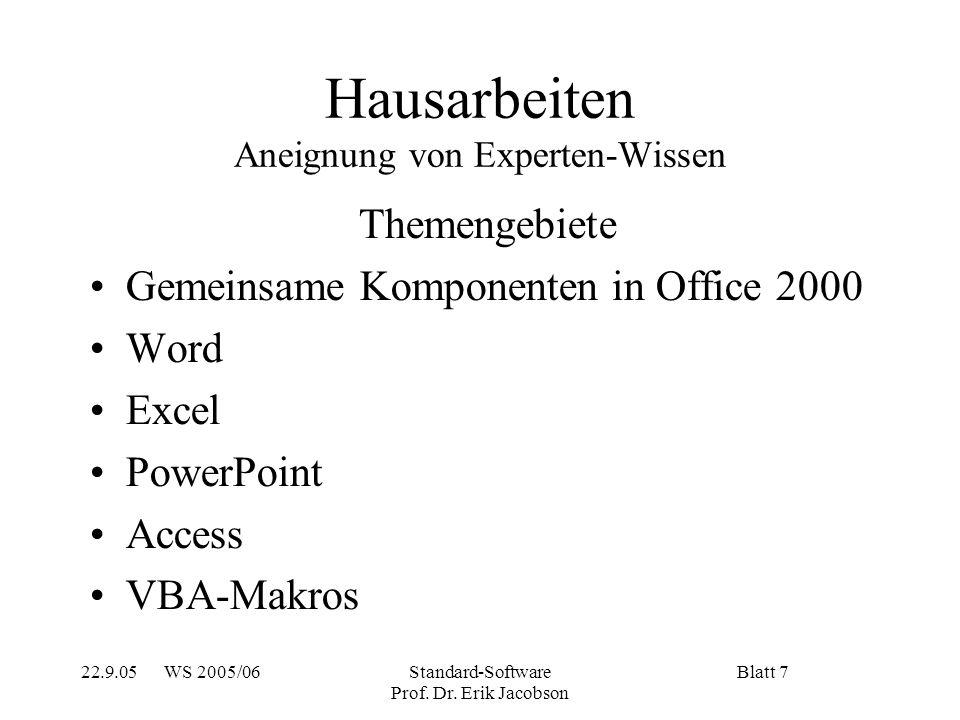 22.9.05 WS 2005/06Standard-Software Prof.Dr.
