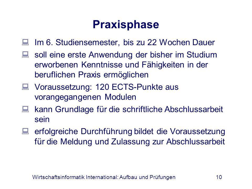Wirtschaftsinformatik International: Aufbau und Prüfungen10 Praxisphase Im 6. Studiensemester, bis zu 22 Wochen Dauer soll eine erste Anwendung der bi