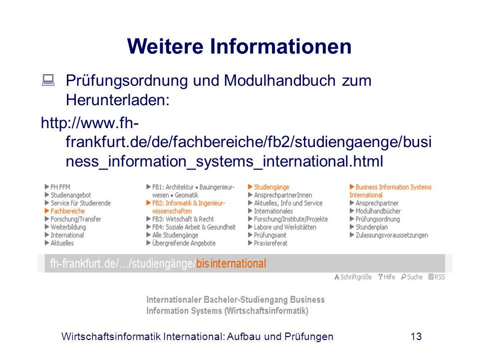 Wirtschaftsinformatik International: Aufbau und Prüfungen13 Weitere Informationen Prüfungsordnung und Modulhandbuch zum Herunterladen: http://www.fh-
