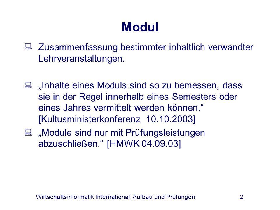 Wirtschaftsinformatik International: Aufbau und Prüfungen2 Modul Zusammenfassung bestimmter inhaltlich verwandter Lehrveranstaltungen. Inhalte eines M