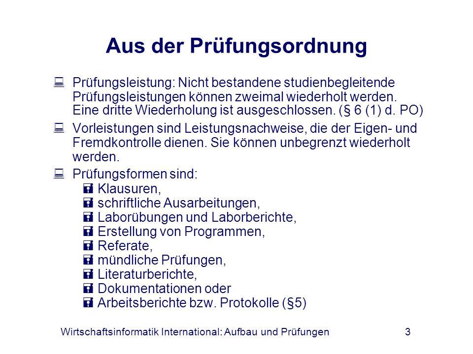 Wirtschaftsinformatik International: Aufbau und Prüfungen3 Aus der Prüfungsordnung Prüfungsleistung: Nicht bestandene studienbegleitende Prüfungsleist