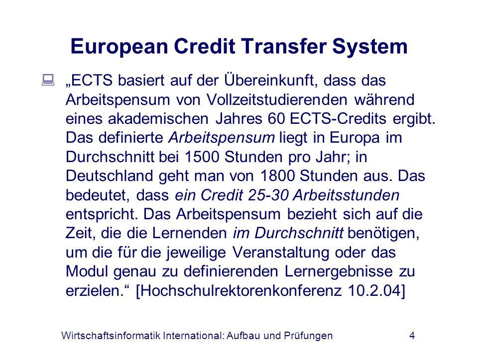 Wirtschaftsinformatik International: Aufbau und Prüfungen4 European Credit Transfer System ECTS basiert auf der Übereinkunft, dass das Arbeitspensum v