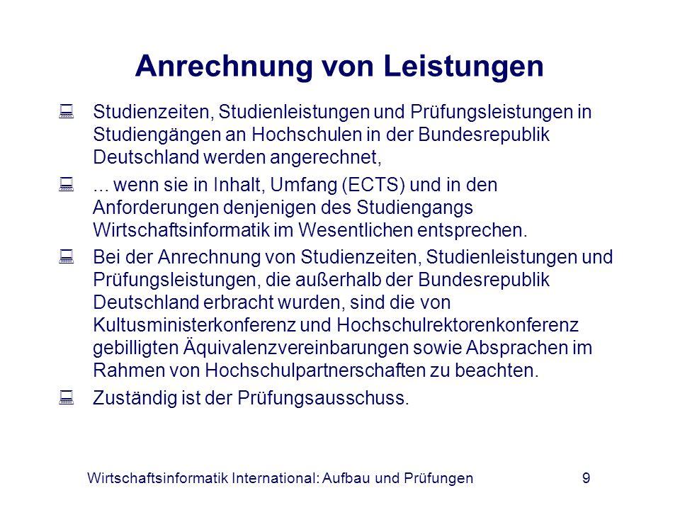 Wirtschaftsinformatik International: Aufbau und Prüfungen10 Praxisphase Im 6.