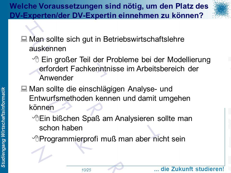 Prof. Dr. Swen Schneider, FHFFM, Overview Studiengang Wirtschaftsinformatik... die Zukunft studieren! 10/25 Welche Voraussetzungen sind nötig, um den