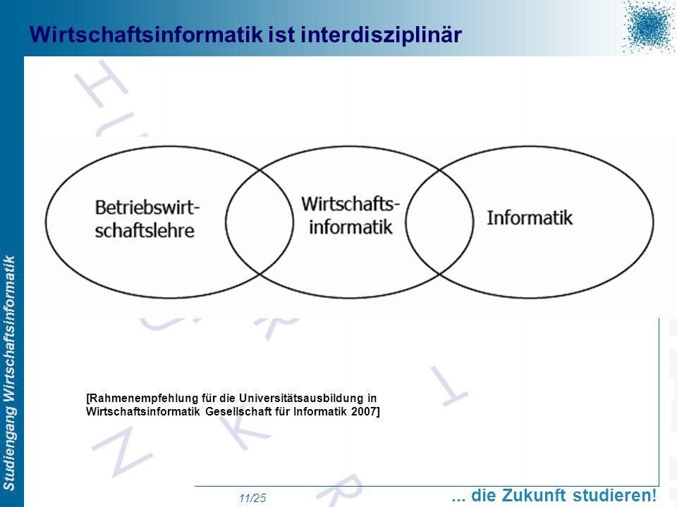 Prof. Dr. Swen Schneider, FHFFM, Overview Studiengang Wirtschaftsinformatik... die Zukunft studieren! 11/25 Wirtschaftsinformatik ist interdisziplinär