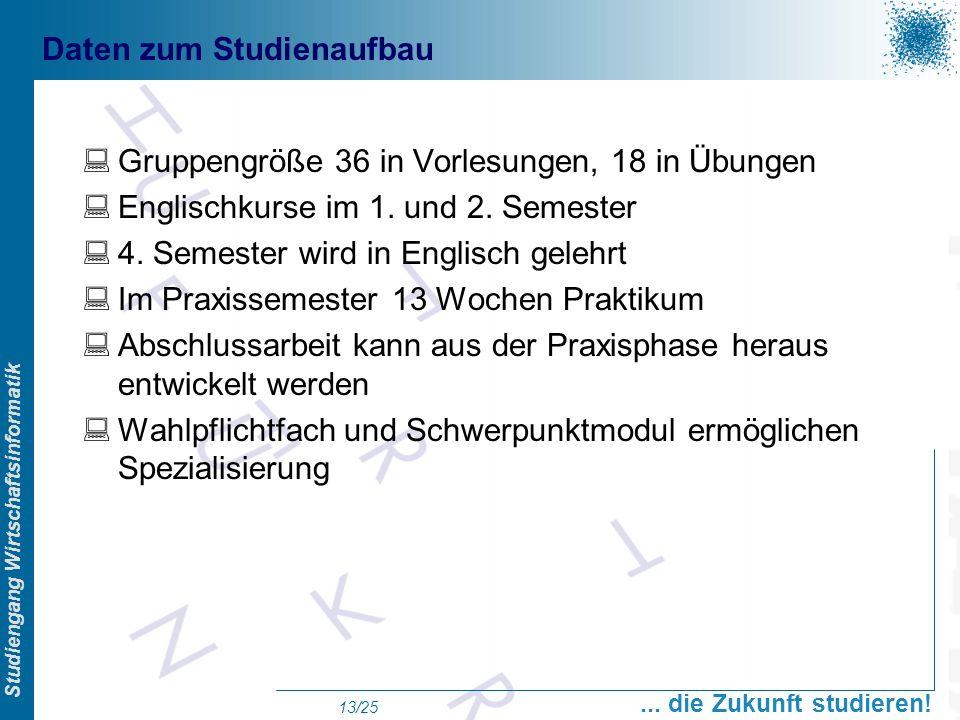 Prof. Dr. Swen Schneider, FHFFM, Overview Studiengang Wirtschaftsinformatik... die Zukunft studieren! 13/25 Daten zum Studienaufbau Gruppengröße 36 in