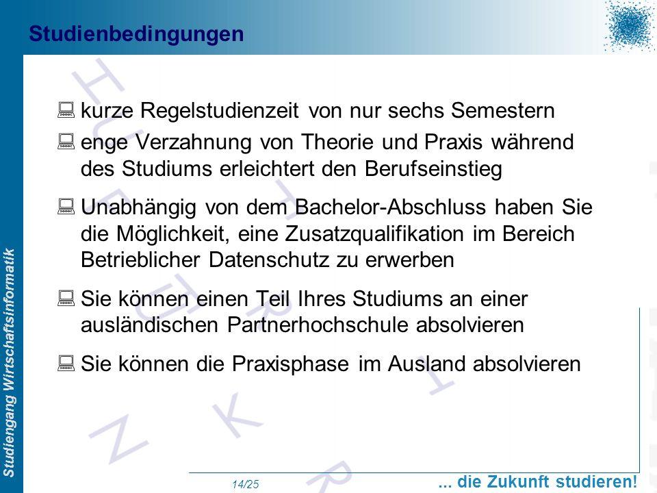 Prof. Dr. Swen Schneider, FHFFM, Overview Studiengang Wirtschaftsinformatik... die Zukunft studieren! 14/25 Studienbedingungen kurze Regelstudienzeit