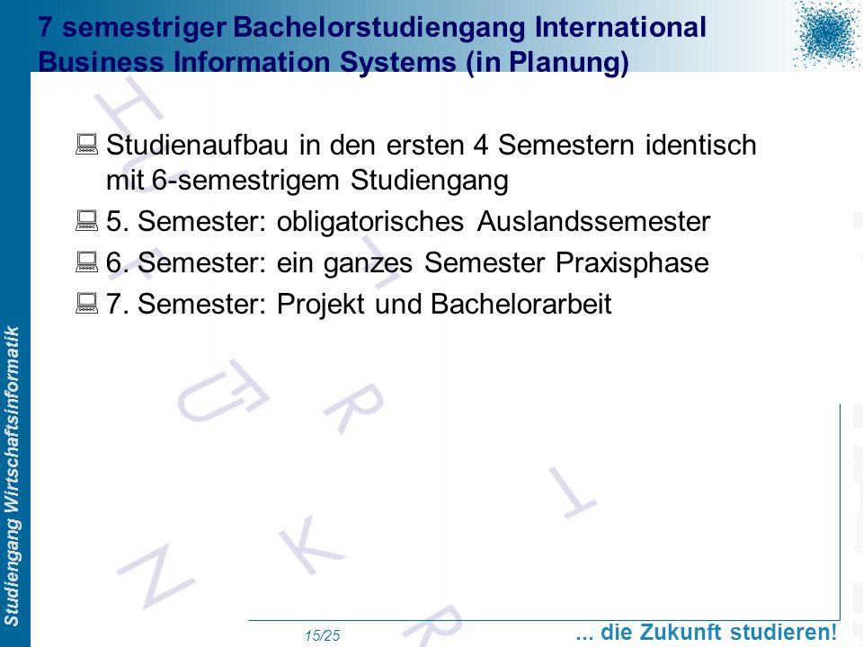 Prof. Dr. Swen Schneider, FHFFM, Overview Studiengang Wirtschaftsinformatik... die Zukunft studieren! 15/25 7 semestriger Bachelorstudiengang Internat