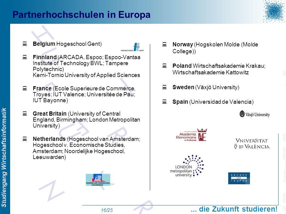 Prof. Dr. Swen Schneider, FHFFM, Overview Studiengang Wirtschaftsinformatik... die Zukunft studieren! 16/25 Partnerhochschulen in Europa Belgium Hoges