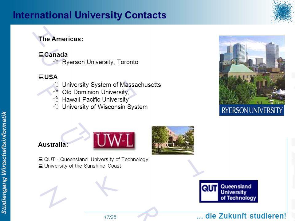 Prof. Dr. Swen Schneider, FHFFM, Overview Studiengang Wirtschaftsinformatik... die Zukunft studieren! 17/25 International University Contacts The Amer