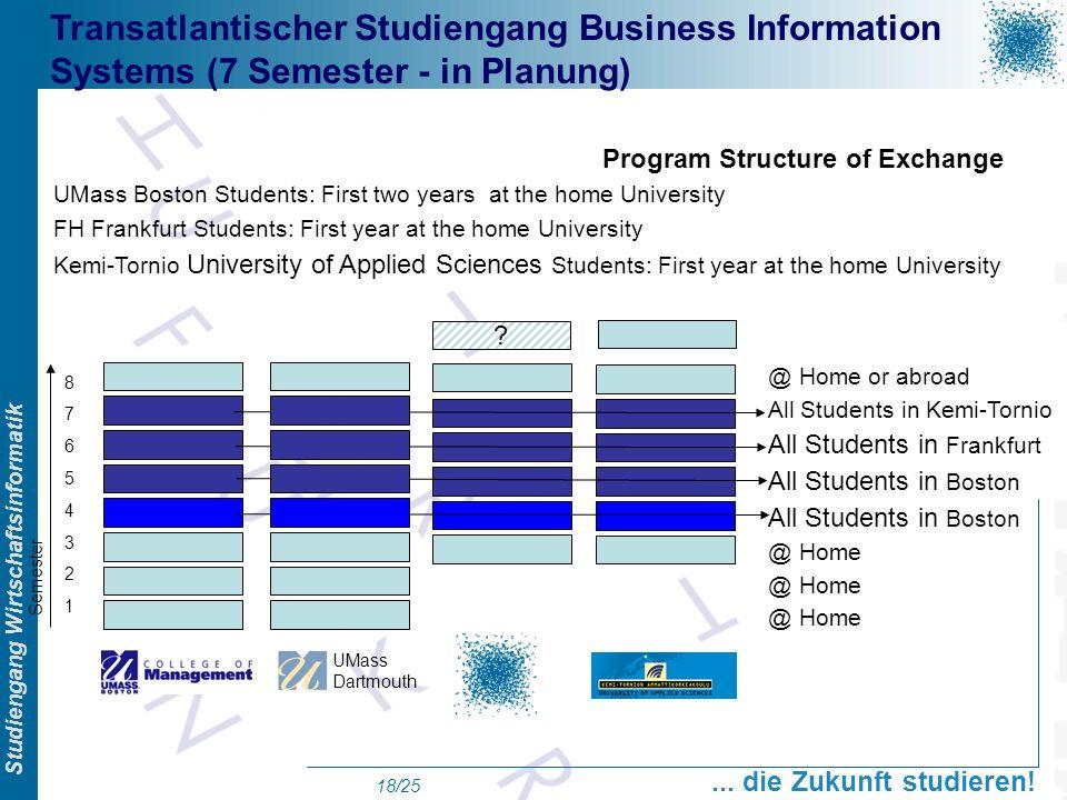 Prof. Dr. Swen Schneider, FHFFM, Overview Studiengang Wirtschaftsinformatik... die Zukunft studieren! 18/25 @ Home or abroad All Students in Kemi-Torn