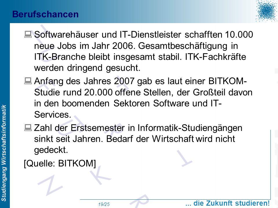 Prof. Dr. Swen Schneider, FHFFM, Overview Studiengang Wirtschaftsinformatik... die Zukunft studieren! 19/25 Berufschancen Softwarehäuser und IT-Dienst