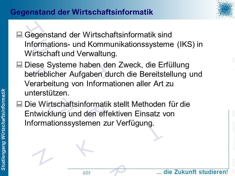 Prof. Dr. Swen Schneider, FHFFM, Overview Studiengang Wirtschaftsinformatik... die Zukunft studieren! 2/25 Gegenstand der Wirtschaftsinformatik Gegens