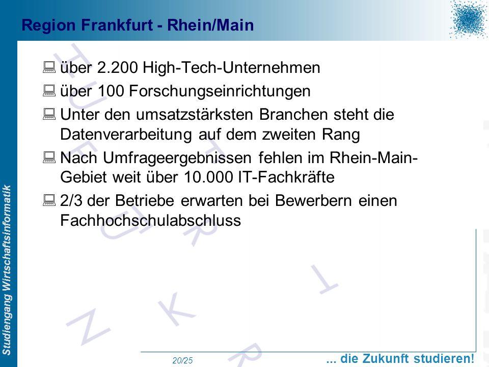 Prof. Dr. Swen Schneider, FHFFM, Overview Studiengang Wirtschaftsinformatik... die Zukunft studieren! 20/25 Region Frankfurt - Rhein/Main über 2.200 H