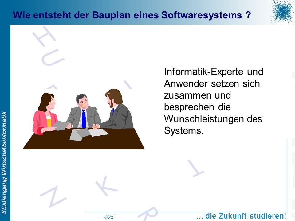 Prof. Dr. Swen Schneider, FHFFM, Overview Studiengang Wirtschaftsinformatik... die Zukunft studieren! 4/25 Wie entsteht der Bauplan eines Softwaresyst