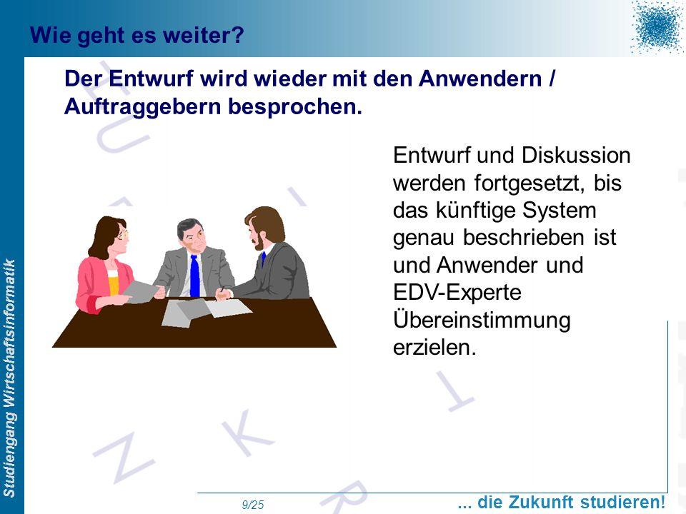 Prof. Dr. Swen Schneider, FHFFM, Overview Studiengang Wirtschaftsinformatik... die Zukunft studieren! 9/25 Wie geht es weiter? Der Entwurf wird wieder