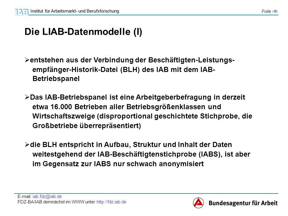 Institut für Arbeitsmarkt- und Berufsforschung E-mail: iab.fdz@iab.de FDZ-BA/IAB demnächst im WWW unter http://fdz.iab.de Folie 4 Institut für Arbeitsmarkt- und Berufsforschung LIAB-Querschnittsmodell LIAB-Längsschnittsmodell