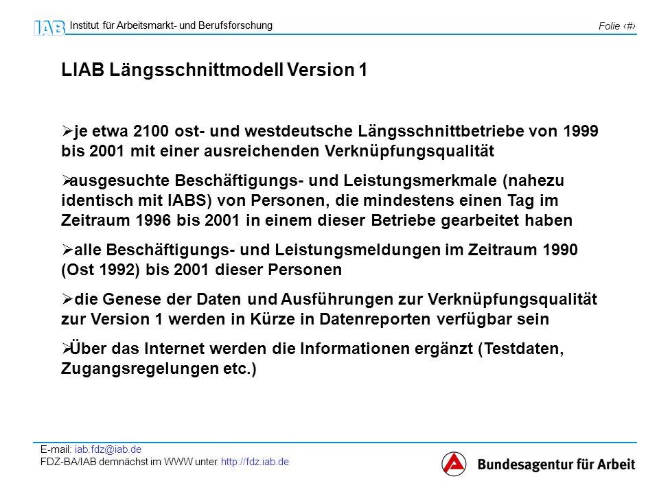 Institut für Arbeitsmarkt- und Berufsforschung E-mail: iab.fdz@iab.de FDZ-BA/IAB demnächst im WWW unter http://fdz.iab.de Folie 7 Institut für Arbeitsmarkt- und Berufsforschung Zugangsregelungen (vorläufige Auswahl) voraussichtlich zu Beginn des Jahres 2005 im Gastwissenschaftlermodell im FDZ Zugang zu schwach anonymisierten Sozialdaten (standardisierte) Genehmigung nach § 75 SGB X mit den üblichen Auflagen Daumenregel für die geplante Aufenthaltsdauer pro Gastarbeitsplatz: ca.