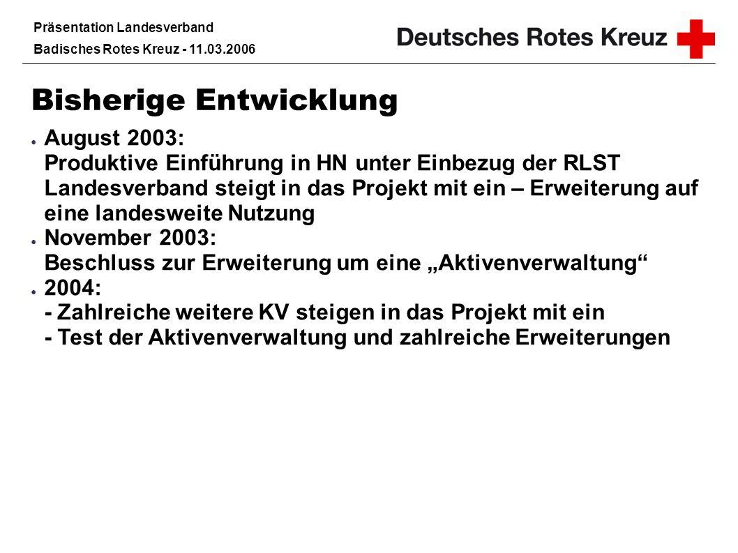 Präsentation Landesverband Badisches Rotes Kreuz - 11.03.2006 Bisherige Entwicklung November 2004: KreisAlarm erhält den Ehrenamtspreis Echt gut des Landes Baden-Württemberg