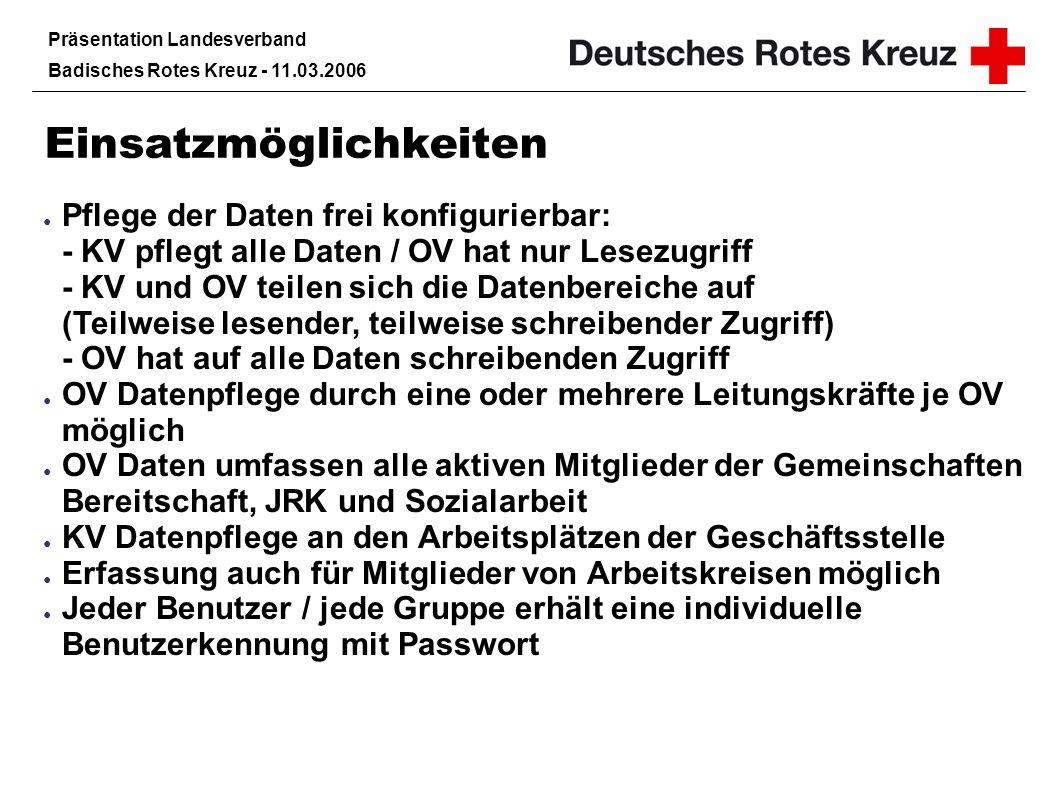 Präsentation Landesverband Badisches Rotes Kreuz - 11.03.2006 Datensicherheit Internetkommunikation erfolgt verschlüsselt Starkes Rechtesystem – jede Leitungskraft sieht nur Daten ihrer Gruppe(n) Zugriff auf alle Daten z.B.
