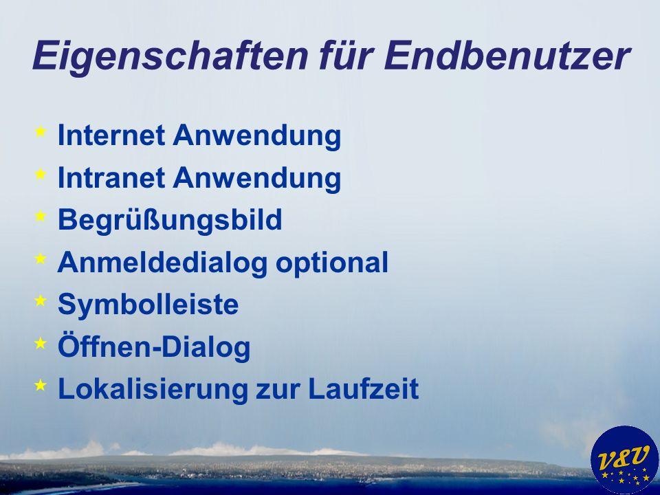 Eigenschaften für Endbenutzer * Internet Anwendung * Intranet Anwendung * Begrüßungsbild * Anmeldedialog optional * Symbolleiste * Öffnen-Dialog * Lok