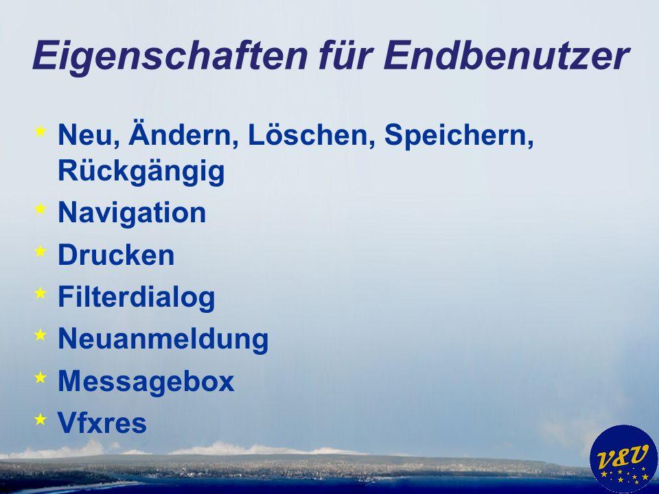 Eigenschaften für Endbenutzer * Neu, Ändern, Löschen, Speichern, Rückgängig * Navigation * Drucken * Filterdialog * Neuanmeldung * Messagebox * Vfxres