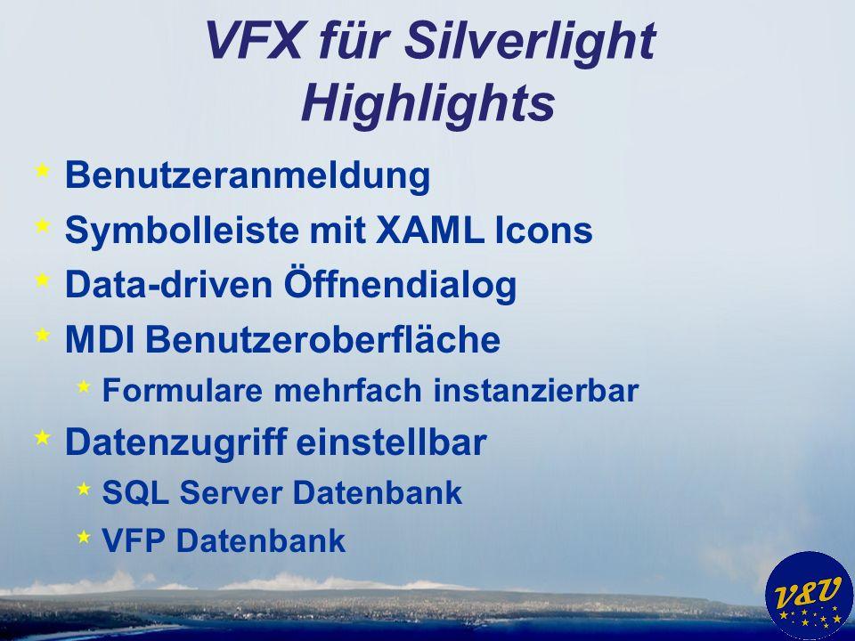 VFX für Silverlight Highlights * Benutzeranmeldung * Symbolleiste mit XAML Icons * Data-driven Öffnendialog * MDI Benutzeroberfläche * Formulare mehrfach instanzierbar * Datenzugriff einstellbar * SQL Server Datenbank * VFP Datenbank